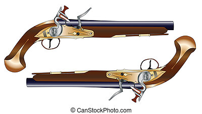 Duelling Pistols - A pair of old style flintlock dueling ...