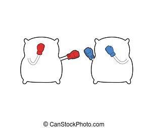 duelo, cojines, boxeo, cama, vector, linen., ilustración, fight., fuerte, almohada, gloves.