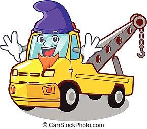 duende, isolado, corda reboque, caminhão, caricatura
