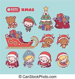 duende, lindo, picea, cartoons., caracteres, año nuevo, nieve, conjunto, venado, kawaii, claus, santa, doncella, chibi, regalos
