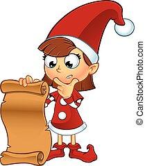 duende, menina, personagem, vermelho