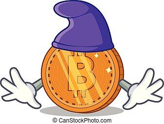 duende, moeda, personagem, bitcoin, caricatura