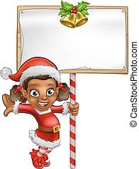 duende, natal, segurando, menina, sinal, caricatura