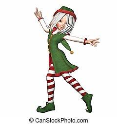 duende, navidad, bailando