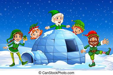 duende, plano de fondo, invierno, navidad