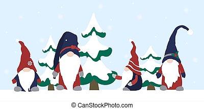 duende, set., prominente, caracteres, paisaje, nariz, hat., abeto, invierno, gnomo, caricatura, árboles., nevoso, llevando, plano de fondo