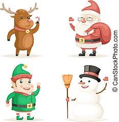 duende, veado, boneco neve, papai noel, caricatura, caráteres, natal, ano novo, ícones, jogo, apartamento, desenho, vetorial, ilustração