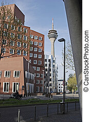 Duesseldorf, Rheinturm and street scene