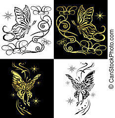 duetto, vettore, farfalle