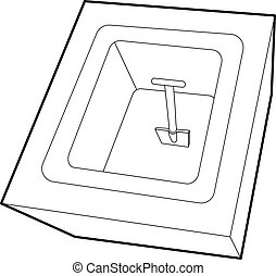 Dug grave icon, outline style