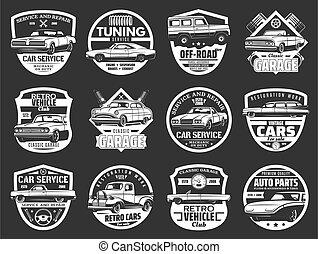 dugattyú, bedugaszol, ikonok, autó, szikra, autó, gép, retro
