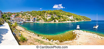 Dugi otok island village of Sali summer panoramic view, Dalmatia, Croatia