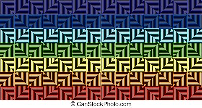 duha, čtverec, abstraktní, -, ilustrace, vektor, grafické pozadí, řádka, geometrický