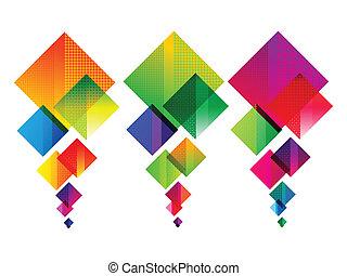 duha, abstraktní, mnohonásobný, barvitý