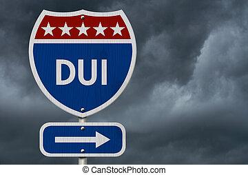 dui, 美國人, 高速公路, 路標