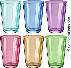 duidelijk, drinkende glazen