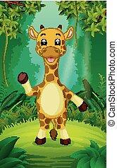 duidelijk, giraffe, groen bos