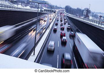 duidelijk, ijs, op, snelweg