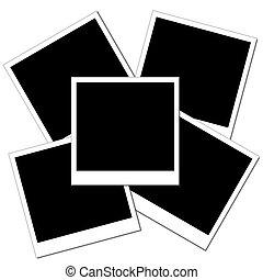 duidelijk, polaroid, drie, stapel, foto's