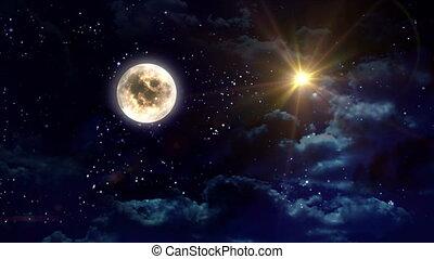 duidelijk, ster, gele maan