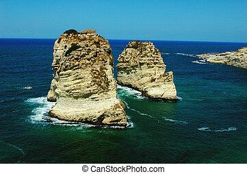 duif, beirut, rotsen, libanon