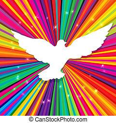 duif, silhouette, op, psychedelic, gekleurde, abstract,...
