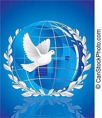 duif van vrede, dichtbij, globe