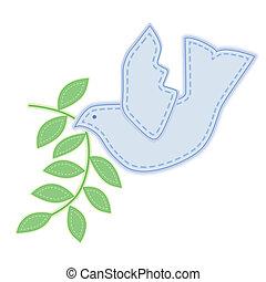 duif, vrede, borduurwerk