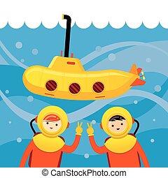 duikboot, geitjes, gele, duiken