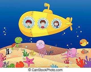 duikboot, geitjes, spotprent, vrolijke