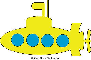 duikboot, gele, pictogram