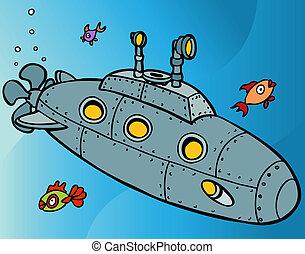 duikboot, onderwater