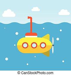 duikboot, onderzoek, gele, onderzees
