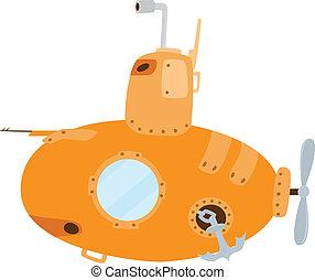 duikboot, spotprent, gele