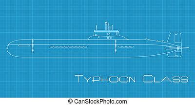 duikboot, tyfoon, stand