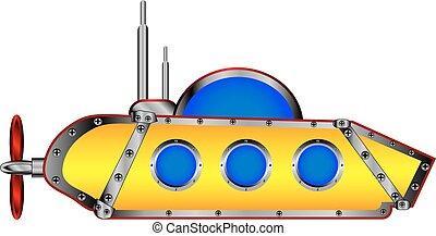 duikboot, white., gele