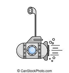 duikboot, window.vector, periscoop, spotprent