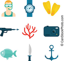 duiken, iconen, plat