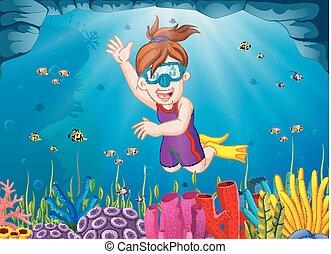 duiken, meisje, spotprent, zee