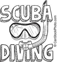 duiken, schets, scuba