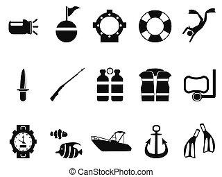 duiken, set, iconen