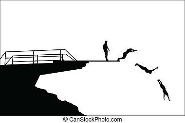 duiken, silhouettes