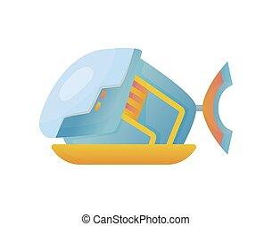 duiken, zee, plat, design., onderzees, duikboot, bodem, blauwe , spotprent, onderwater, scheeps , bathyscaphe, vector, gele, stijl, ontdekkingsreis