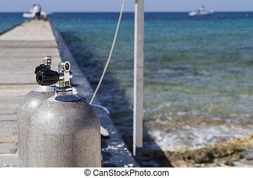 duiken, zuurstoftanks