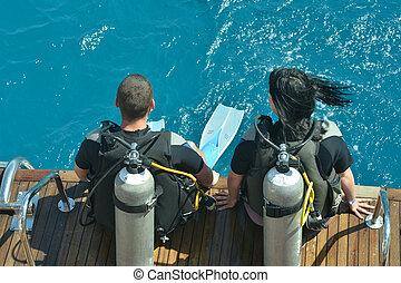 duikers, scuba, twee