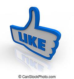duim boven, symbool, pictogram, voor, zoals, bespreken