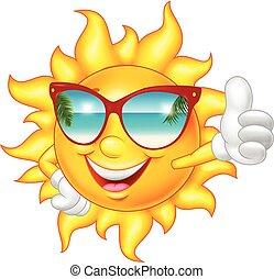 duim, geven, zon op, het glimlachen, spotprent