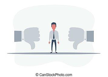 duim, mensen, omlaag., duimen, het tonen, zakelijk, afkeer, denken, businessman., meldingsbord, verdrietige , dons