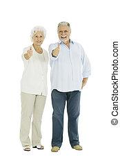 duim-omhoog, paar, bejaarden, vrolijke