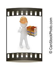 duim, technisch, hard, op, best, kadootjes, literature., strook, man, hoedje, film, 3d